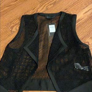 NWT black open vest
